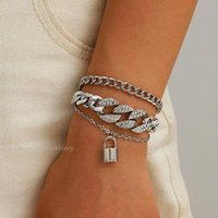 Link, Chain Multilayer Hip Hop Rhinestone Bracelets Women Luxury Lock Charm Bracelet Wedding Couples Vintage Punk Boho Jewelry