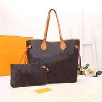 Hohe Qualität Designer Leder Handtaschen Frauen Umhängetaschen mit Brieftasche Weibliche Mutter Paket Verbundtasche Geldbörse Lady Totes 2pcs / set