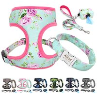 4pcs lot Personalized Leash Harness Poop Bag Nylon Custom Tag Collar For Small Medium Large Dogs Pet Supplies