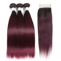 Ombre Couleur #T 1B / 99J Remy Remy Straight Cheveux humains Teins 3 Feuillets de tissage avec fermeture à lacets 4x4