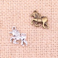 Running Horse Unicorn Charms Antique Pendants,Vintage Tibetan Silver Jewelry,Diy Jewelry Accessories For Bracelet Necklace 19*16mm