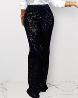 Женские брюки CAPRIS Ninimour Women Elegant Fashion Sceaked Shining Leas Full High Tift Club Ночной леди Широкие брюки