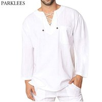 White Cotton Linen Shirt Men Brand Long Sleeve Casual Lace Up Shirts Mens Lightweight Breathable Top Blouse Chemise 3XL 210610