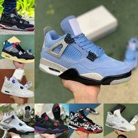 Air Brand JORDÁN 4 Alta calidad 4 4s zapatos de baloncesto hombres mujeres universidad azul corte púrpura puro dinero crema vela Taupe neblino