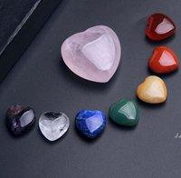 Branelli in pietra di cristallo naturale Ornamenti di pietre preziose a forma di cuore 7pcs / set yoga energia pietre artigianato decorazione della casa DWA5144