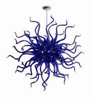 Mini bonito azul lâmpadas pingente de vidro soprado quarto dale chihuly arte decoração flor flor forma Murano candelabro