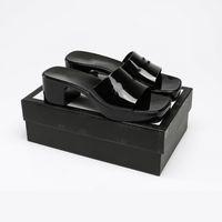 Donne Pantofole Tacchi alti in gomma Sandalo Sandalo Nero Bianco Giallo Giallo Rosso Blu Pink Green Platform Slipper Slipper Chunky 2.4 Heel Altezza Scarpe