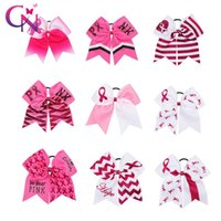 """Hair Accessories 9 Pcs lots 7"""" Glitter Breast Cancel Cheer Bow With Elastics Rubber Band For Kids Print Letter Ponytail"""