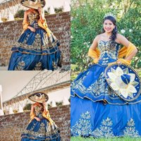 Mexican quinceaera Luxury Detail Gold Embroidery Quinceanera Dresses 2019 Masquerade Ball Gown Royal Blue Sweety 16 Girls Prom Pa