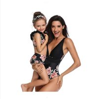 Women's Swimwear The Parent-child One Piece Swimsuit Of 2021 European And American Style Mother Daughter Solid Print