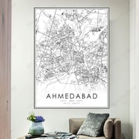 Paintings Ahmedabad Map Black White Canvas Painting Poster Art Picture India City Street Road Modern Nordic Wall Decoration Home Decor