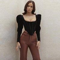 Design Good Quality Factory Price Fashion Selling Women's Sexy Long Sleeve Fishbone Puff T-Shirt
