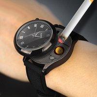 Relógios de pulso 2021 Moda Casual Quartzo Homens USB Carregando Lighter Relógios Flumeless Cigarro Substituível Fio de Aquecimento