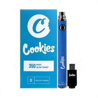 Cookies Vape Pen Battery 350 900 mAh VV Preheat 3.3-4.8V Slim Twist Blister Packaging Bottom Spinner SS Adjustable For 510 Thread Dab Thick Oil Cartridge Wax Atomizers