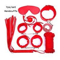 Bondage 50sets Handcuffs Gag Nipple Clamps Whip Collar Erotic Toy Leather Fetish Sex Restraint For Couples Games 7ps set
