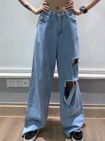 Women's Jeans Oversized Ripped Straight Tube Loose Summer Thin Fashion High Waist Skinny Daddy Jean