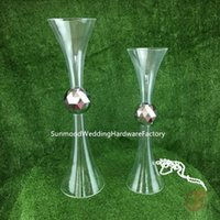 Party Decoration Clear Trumpet Acrylic Vase Wedding Table Centerpiece Flower Holder Reversible
