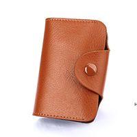 Einfache design unisex org visitenkarte taschen halter echtes leder bank kardcase mode hasspee brieftasche münze geldbörse zucker farbe dhe5839