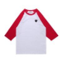Designer männer sattel comes des garcons spielen t-shirt rot farbe pullover baumwolle atmungsaktive top qualität herz 3/4 sleeve herren trainingsanzug commes unisex