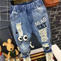 Bébé garçons filles jeans pantalons enfants pantalons 1-7yrs Casual dessin animé chat pour enfants 210915