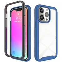2 in 1 TPU PC Shockproof Phone Cases For iPhone 13 12 11 Mini Pro Max X XS 8 7 Plus Soft Bumper Frame Cover