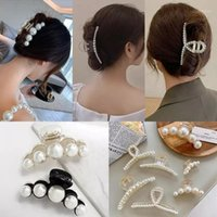 Big Pearls Hair Clip Oversize Small Makeup Thick Accessories For Women Korean Black White Barrette 20211
