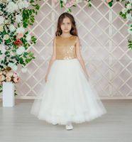 Girl's Dresses Gold Sequin Ivory Tulle V Back Flower Girl Dress For Wedding Satin Bow Kid Birthday Party Prom Gowns