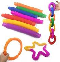 2021 toys Pop Fidget Children to vent toy telescopic corrugated color elastic stretch drawn tube