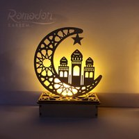رمضان عيد مبارك زينة للمنزل القمر الصمام الشموع ضوء لوحة خشبية شنقا الدقائق الإسلام مسلم الحدث حزب اللوازم 705 V2