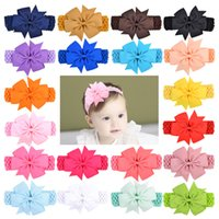 Baby Girls Bow Headbands Kids Children Elastic Bowknot Headband Hairbands Swallowtail Bows Hair Accessories headwear 20 Colors KHA99