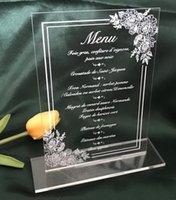Grußkarten Acryl-Dinner-Menü, weiße Rose, Pfingstrose-Menü mit einer Basis, 10pcs benutzerdefinierte Hochzeitsmenü, Acryl-Einladungen, Party-Einladung