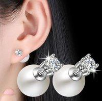 Orecchini di lusso Big Big Pearl Orecchini per le donne con diamanti Shining Crystal Earring Party Regalo gioielli da sposa