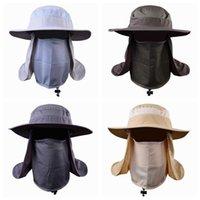 Açık Etkinlik Bisiklet Güneş Kapmak Balıkçılık Şapka Unisex Geniş Brim Güneş Koruma Şapka Çıkarılabilir Boyun Flap Yüz Kapağı ile 360 ° önlemek önlenir