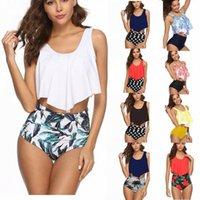 Trajes de baño de playa Trajes de baño Mujeres Bikini Dos trajes de baño de dos piezas conjuntos volantes top conjuntos de tanques de cintura alta de cintura alta set J6na #
