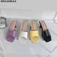 Dress Shoes MIULAMIULA Brand Designer 2021 Summer High Quality Genuine Leather Square Toe Heels Lady Pumps Mules Flip Flops Outside