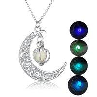 Pendant Necklaces Women Luminous Necklace Glowing Pumpkin Lantern Moon Charm Chain Halloween Jewelry Gifts