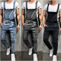 الرجال الجينز الأزياء ممزق حللا الشارع الشهير بالوعة الدنيم مريلة وزرة للرجل حمالة السراويل حجم S-XXXL