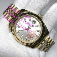 Белые часы мужчины 36 мм автоматическое оборудование серебро нет батареи нержавеющая сталь дата просто подметание движения оптом завод