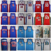 Retro Baloncesto Vintage 33 Grant Hill Jersey 11 Isiah Thomas 40 Bill Laimbeer 10 Dennis Rodman 4 Joe Dumars Azul Blanco Rojo Beige