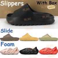 2021 Mens Sandálias Terra Brown Resina Slide Shoes Triplo Black Filma osso Osso Branco Chinelos Homens Mulheres Praia Sapatilhas Espuma Corredor com Caixa