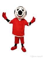 Sıcak Yüksek Kalite Gerçek Resimler Deluxe Kırmızı Futbol Maskot Kostüm Karikatür Yetişkin Boyutu Ücretsiz Gemi