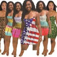 Tiktok Plus Size Moda Dress Moda Summer Strifed National Bandiera Star Stampa Stella Sexy Gonna Casual Tuta Miniskirt senza maniche Senza maniche Abiti G55EM3N