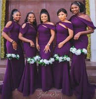 2021 Purple Satin Bridesmaid Dresses Mermaid Appliqued Spaghetti Straps Maid Of Honor Dress Floor Length Plus Size Wedding Party Guest Gowns