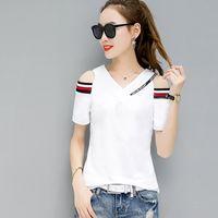 T-shirt Femme de l'épaule Tops pour T Short Sket Summer Cotton Femme Casual Tee Femme Vêtements Eetm