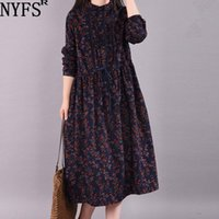Günlük Elbiseler NYFS 2021 Kadın Elbise Edebi Vintage Gevşek Uzun Sonbahar Vestido De Mujer Robe
