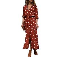 Women Polka Dot Print Slitting Long Sleeve Turn Down Collar Maxi Shirt Dress