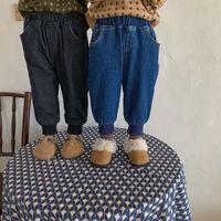 Jeans Koodykids Winter Kids Boys Casual Girls Denim Warm Pants Unisex Thick Velvet Added Baby Boy Clothes 2-6 Y
