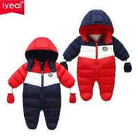 Iyeal ولد الطفل snowsuit الأطفال الرضع الشتاء معطف الدافئة بطانة مقنعين سستة بذلة بنين بنات بطة أسفل أبلى وزرة 210907