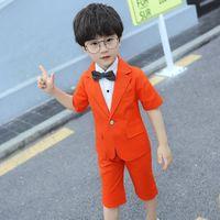 Boys Formal Ternos Verão 2 Pcs Blozer de Manga Curta + Shorts Children Kids Wedding Birthday Dress Dress Set 93 Z2