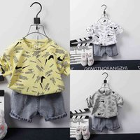 Baby Kids Two Piece Outfits Summer Shorts Set Boys Tiktok Fashion Cute Tracksuit Designers T shirt and Short Jeans Denim Pants Sportswear Sport Suit Clothing G59IPG6